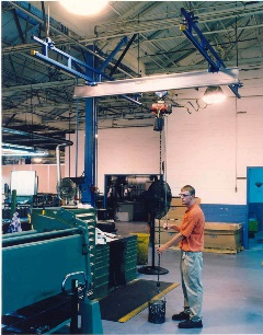 250 lb Ceiling Hung Work Station Crane with Aluminum Bridge