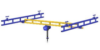 Rendering of Ceiling Mounted Work Station Crane with G-Force