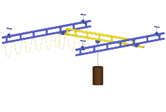 Rendering of Ceiling Mounted Work Station Crane with Festooning