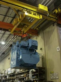 Cleveland Tramrail Underhung System moving heavy laundry equipment