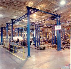 Multiple Free Standing Work Station Cranes in factory