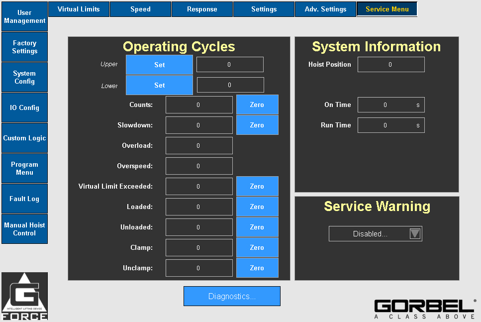 G-Force G-Link Service Menu
