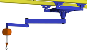 Ceiling mounted articulating jib crane