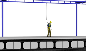 Free Standing Monorail Fall Protection System used in railroad and truck maintenance