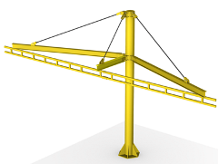A single pole free standing fall protection system
