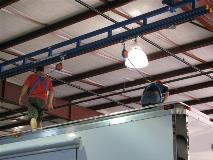 Ceiling mounted fall protection for Bus/EV maintenence