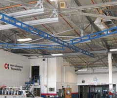 Ceiling mounted monorail fall arrest system